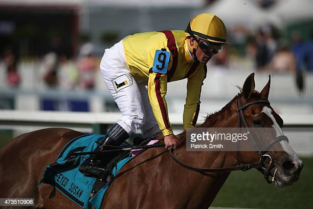 Keen Pauline riden by Javier Castellano crosses the finish line to win the BlackEyed Susan at Pimlico Race Course on May 15 2015 in Baltimore Maryland