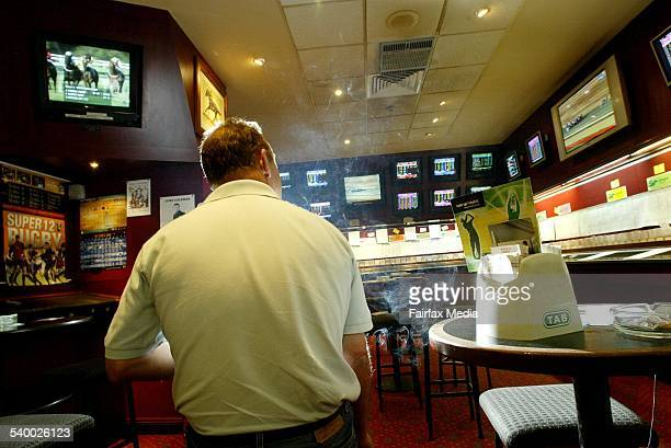 Keen punter John Fleming in the TAB of the Illawarra Leagues Club Sydney and Melbourne races are now being broadcasted on their own television...