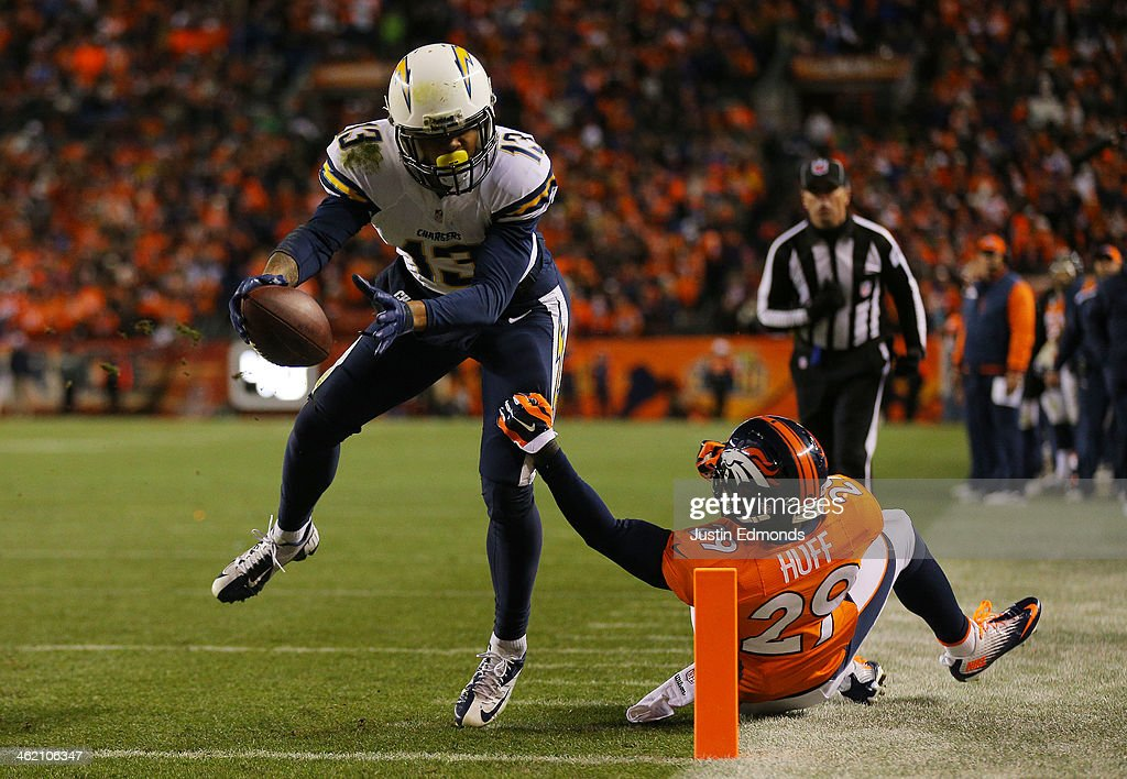 <a gi-track='captionPersonalityLinkClicked' href=/galleries/search?phrase=Keenan+Allen&family=editorial&specificpeople=7183592 ng-click='$event.stopPropagation()'>Keenan Allen</a> #13 of the San Diego Chargers scores a fourth quarter touchdown against <a gi-track='captionPersonalityLinkClicked' href=/galleries/search?phrase=Michael+Huff&family=editorial&specificpeople=648298 ng-click='$event.stopPropagation()'>Michael Huff</a> #29 of the Denver Broncos during the AFC Divisional Playoff Game at Sports Authority Field at Mile High on January 12, 2014 in Denver, Colorado.