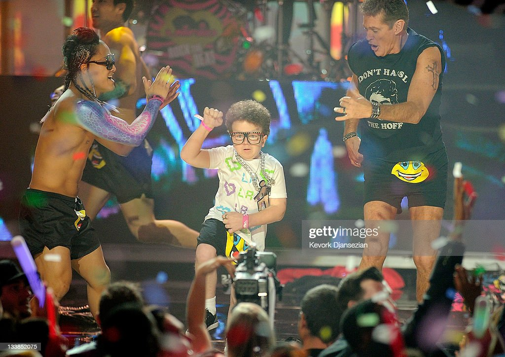 Keenan Cahill performs with LMFAO onstage at the 2011 American Music Awards held at Nokia Theatre LA LIVE on November 20 2011 in Los Angeles...