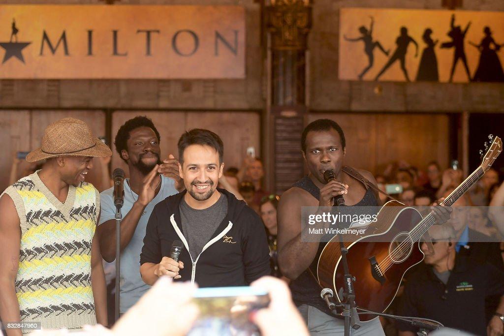Keenan D. Washington, Michael Luwoye, Lin-Manuel Miranda and Joshua Henry perform onstage during the #Ham4Ham featuring Lin-Manuel Miranda at the Pantages Theatre on August 16, 2017 in Hollywood, California.