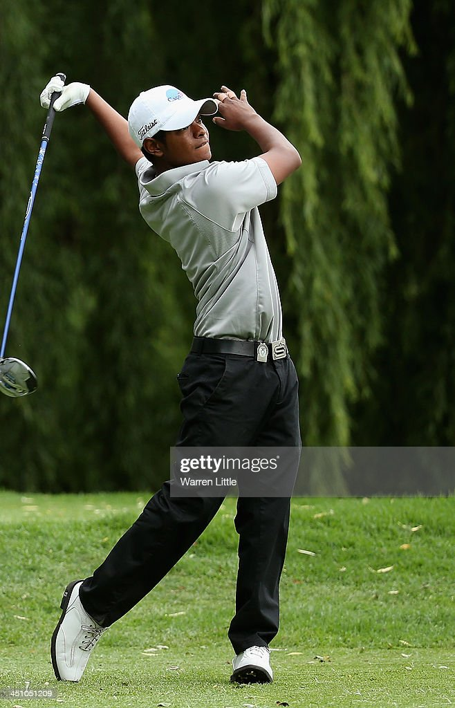 Keenan Davidse of South Africa reacts to a poor tee shot on the eighth hole during the first round of the South African Open Championship at Glendower Golf Club on November 21, 2013 in Johannesburg, South Africa.
