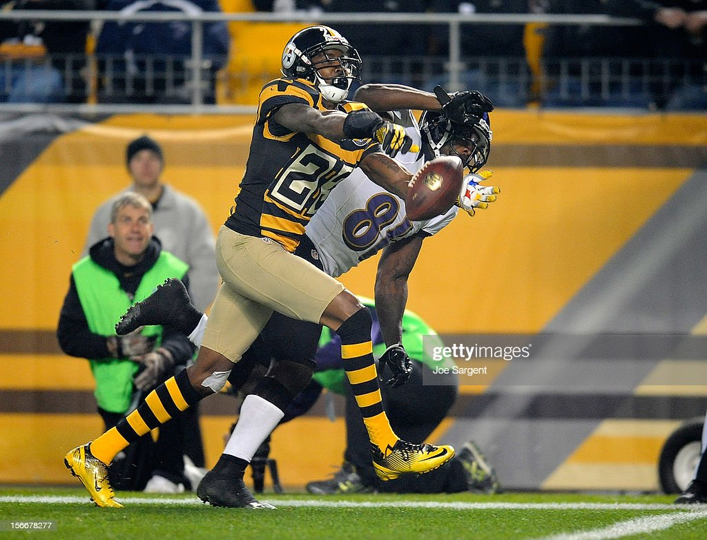 Keenan Lewis #23 of the Pittsburgh Steelers breaks up a pass intended for Anquan Boldin #81 of the Baltimore Ravens during the third quarter on November 18, 2012 at Heinz Field in Pittsburgh, Pennsylvania.