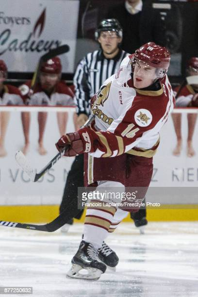 Keenan MacIsaac of the AcadieBathurst Titan fires a shot against the Gatineau Olympiques on October 18 2017 at Robert Guertin Arena in Gatineau...