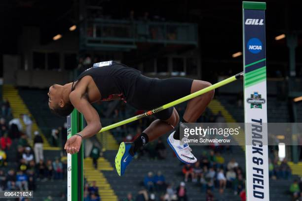 Keenon Laine of the University of Georgia competes in the high jump during the Division I Men's Outdoor Track Field Championship held at Hayward...