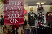 'Keep Calm There's a Sale On' proclaims a poster in Walsall Market on February 11 2015 in Walsall United Kingdom As the United Kingdom prepares to...