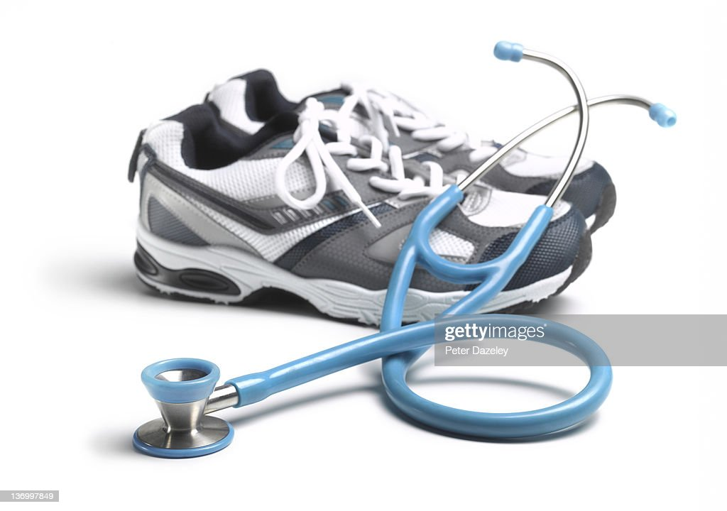 Keep fit trainers with stethoscope