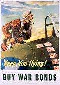 Keep Him Flying Buy War Bonds Poster by Georges Schrieber