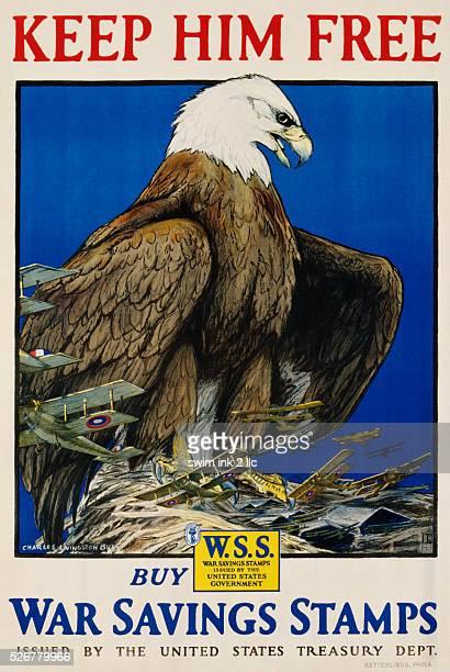 Keep Him Free Buy War Savings Stamps Poster by Charles Livingston Bull