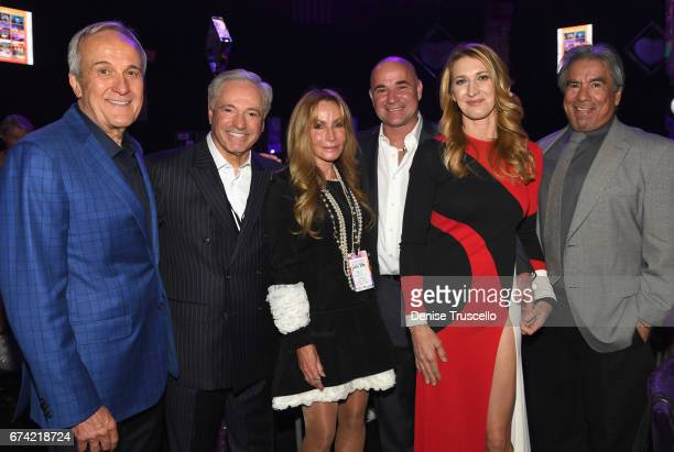 Keep Memory Alive CoFounder Larry Ruvo former tennis player and Community Achievement Award recipient Andre Agassi and former tennis player Steffi...