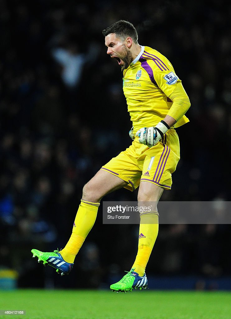 WBA keeper <a gi-track='captionPersonalityLinkClicked' href=/galleries/search?phrase=Ben+Foster+-+Soccer+Player&family=editorial&specificpeople=5333104 ng-click='$event.stopPropagation()'>Ben Foster</a> celebrates the opening goal during the Barclays Premier League match between West Bromwich Albion and Aston Villa at The Hawthorns on December 13, 2014 in West Bromwich, England.