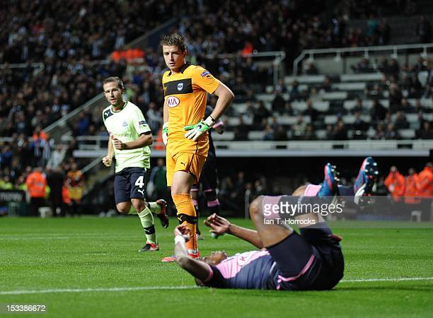 Keeper Cedric Carrasso looks on after Henrique of Bordeaux scored an own goal during the UEFA Europa League group stage match between Newcastle...