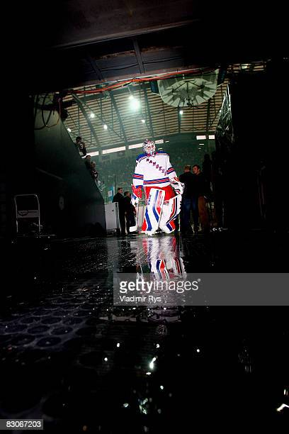Keeper Henrik Lundqvist of Rangers entes the lockers prior to the Victoria Cup game between NY Rangers and SC Bern at the PostFinance Arena on...