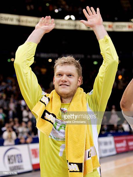 Keeper Johannes Bitter of Hamburg celebrates the victory during the Bundesliga game between HSV Handball and MT Melsungen at the Color Line Arena on...