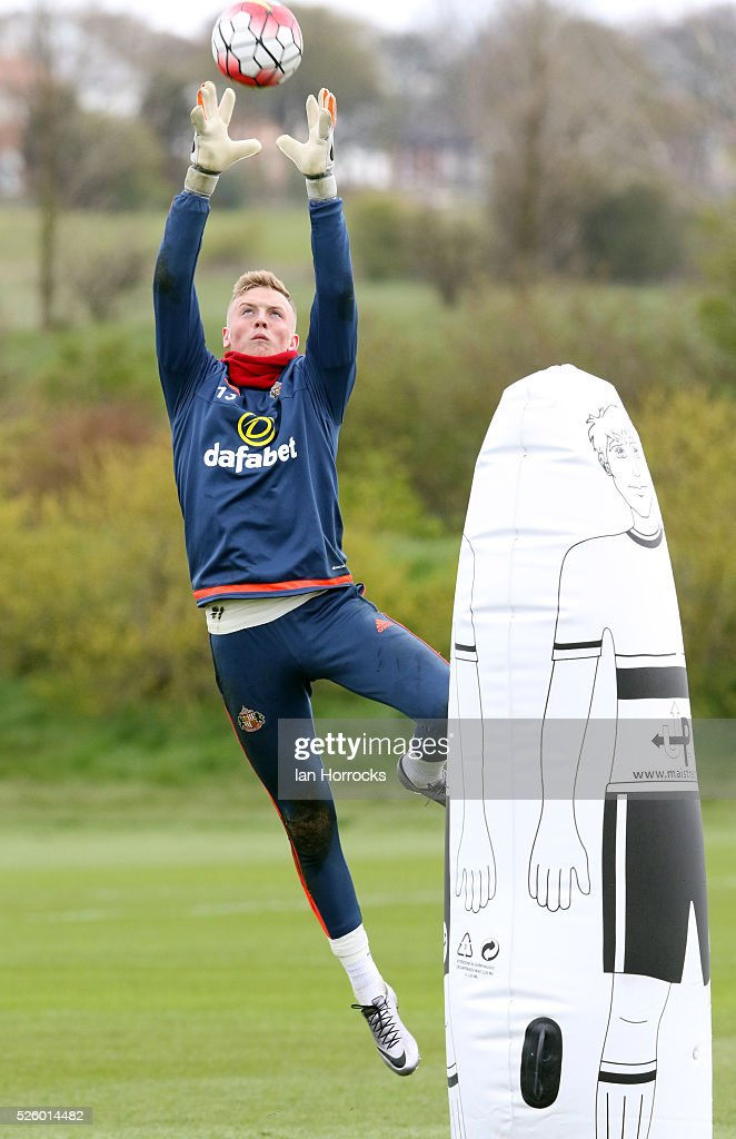 Keeper Jordan Pickford during a Sunderland AFC training session at The Academy of Light on April 29, 2016 in Sunderland, England.