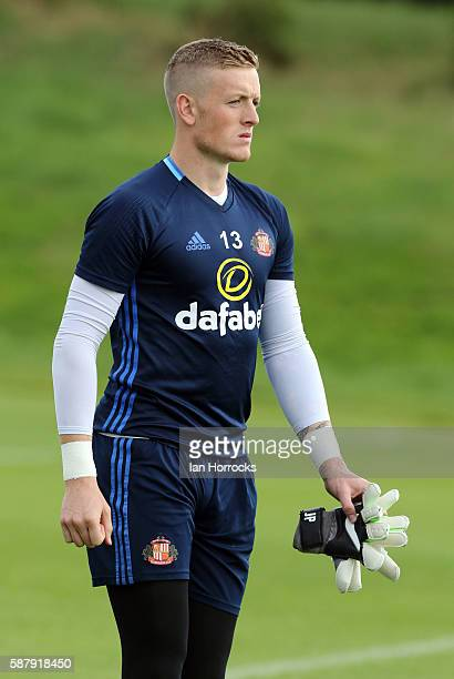 Keeper Jordan Pickford during a Sunderland AFC training session at The Academy of Light on August 10 2016 in Sunderland England