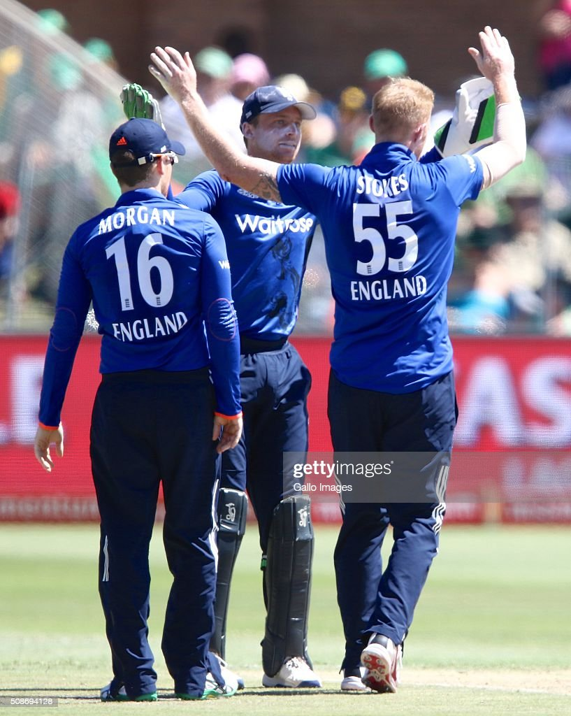 keeper Jos Buttler of England congratulates Ben Stokes of England for the dismissal of Quinton de Kock of the Proteas during the 2nd Momentum ODI Series match between South Africa and England at St Georges Park on February 06, 2016 in Port Elizabeth, South Africa.
