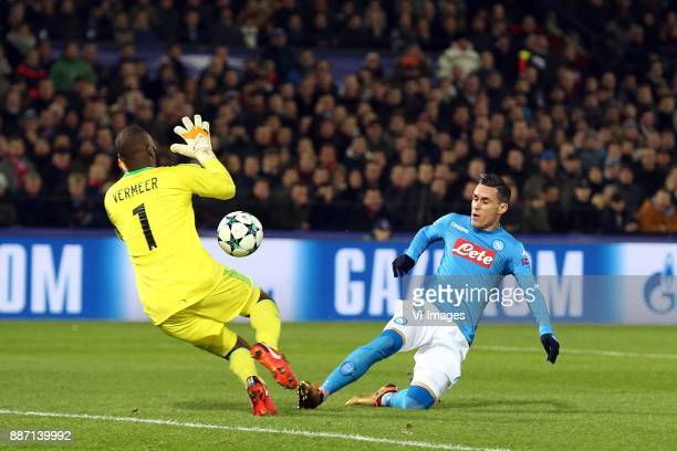 keeper Kenneth Vermeer of Feyenoord Jose Callejon of SSC Napoli during the UEFA Champions League group F match between Feyenoord Rotterdam and SSC...