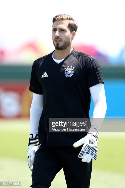 Keeper Kevin Trapp looks on during a Germany training session ahead of their FIFA Confederations Cup Russia 2017 Group B match against Cameroon at...