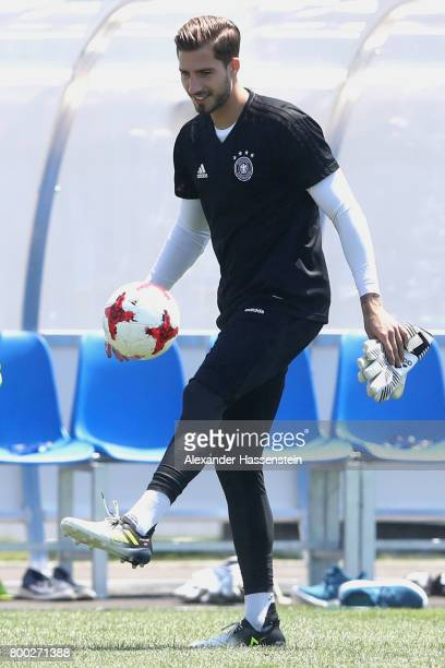 Keeper Kevin Trapp plays with the ball during a Germany training session ahead of their FIFA Confederations Cup Russia 2017 Group B match against...