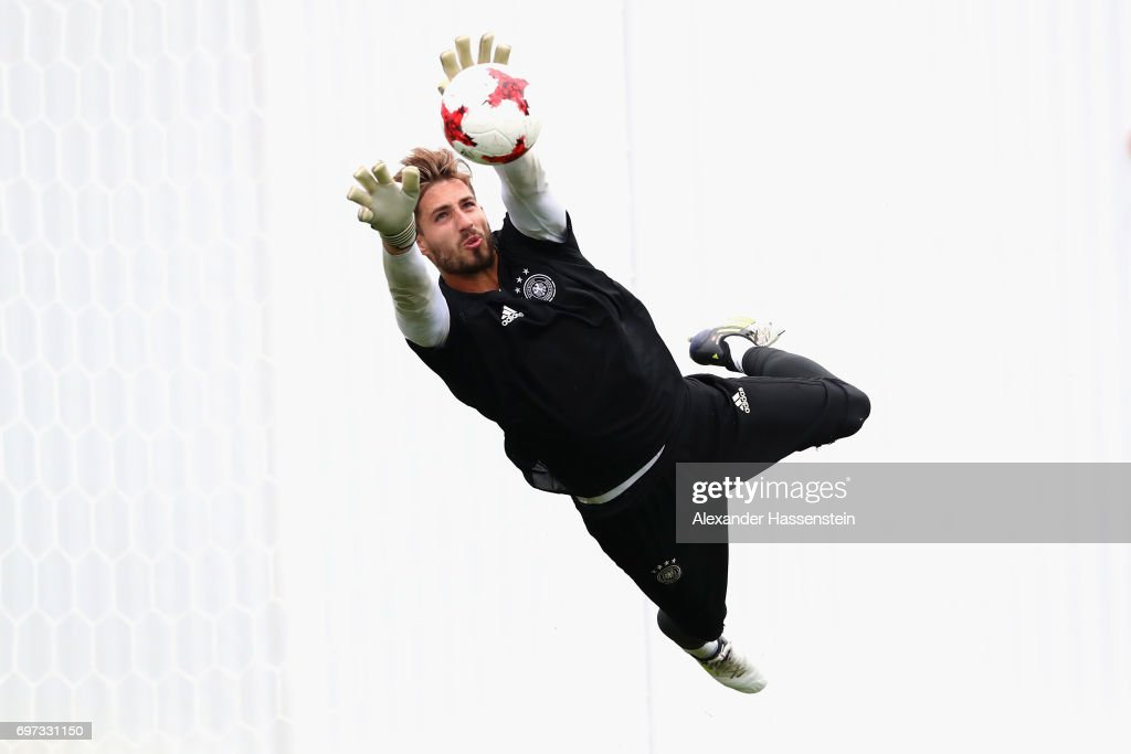 Keeper Kevin Trapp safes the ball during a team Germany training session at Park Arena training ground on June 18, 2017 in Sochi, Russia. Germany will play against Australia on their Group B FIFA Confederation Cup Russia 2017 match on June 19, 2017 in Sochi, Russia.