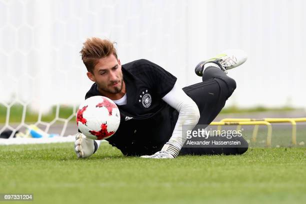 Keeper Kevin Trapp safes the ball during a team Germany training session at Park Arena training ground on June 18 2017 in Sochi Russia Germany will...