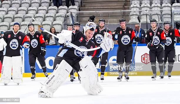 Keeper Loni Myllykoski of Soenderjysker celebrates after the game during the Champions Hockey League group stage game between SonderjyskE Vojens and...