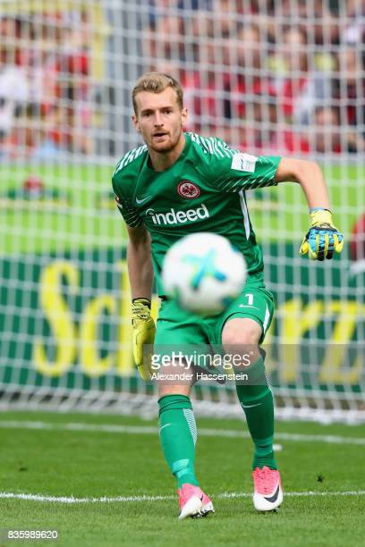 Keeper Lukas Hradecky of Frankfurt looks on during the Bundesliga match between SportClub Freiburg and Eintracht Frankfurt at SchwarzwaldStadion on...