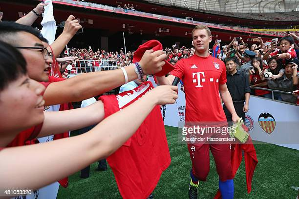 Keeper Manuel Neuer arrives for a FC Bayern Muenchen training session at National Stadium at day 1 of the FC Bayern Audi China Summer PreSeason Tour...