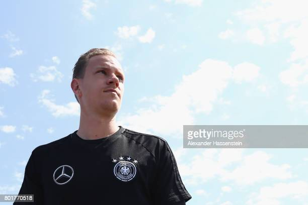 Keeper MarcAndre terStegen of Germany arrives for a mixed zone press conference prior to a team Germany training session at Park Arena training...