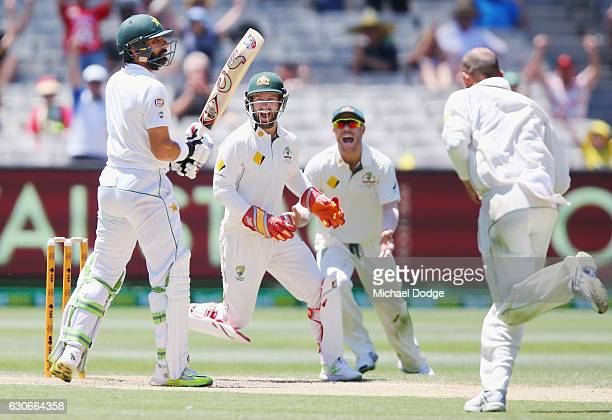 Keeper Matthew Wade of Australia reacts after MisbahulHaq of Pakistan is caught by Nic Maddinson of Australia from a sweep shot off Nathan Lyon of...