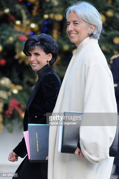 Keeper of the Seals and Minister of Justice Rachida Dati and Minister for the Economy Industry and Employment Christine Lagarde arrive to attend the...