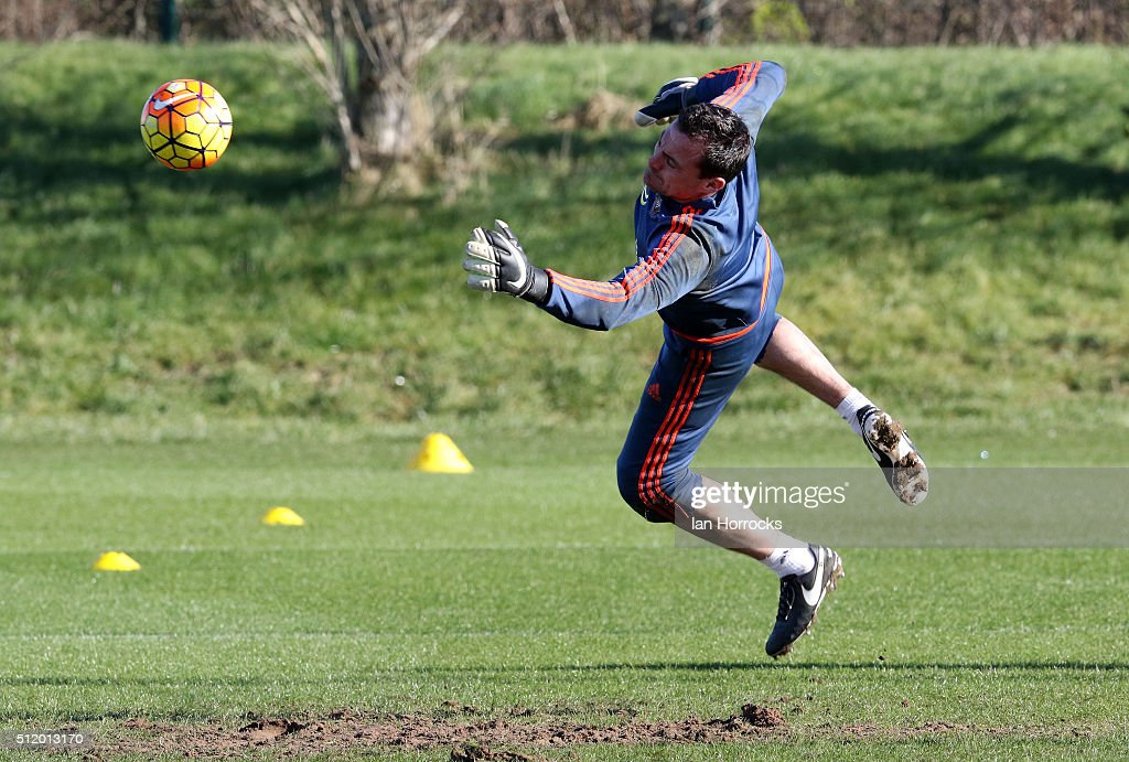 Keeper Steven Harper makes a save during a Sunderland AFC training session at the Academy of Light on February 24, 2016 in Sunderland, England.