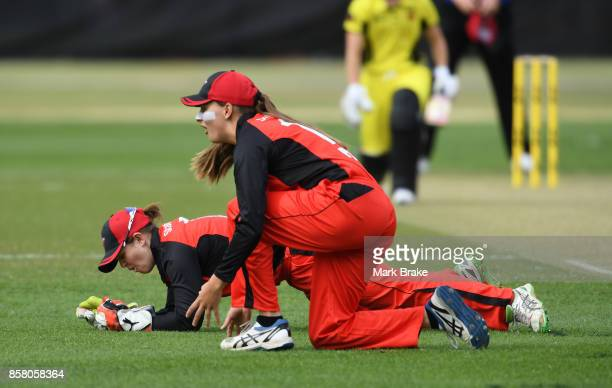 Keeper Tegan MvcPharlin and Alex Price during the WNCL match between South Australia and Western Australia at Adelaide Oval No2 on October 6 2017 in...