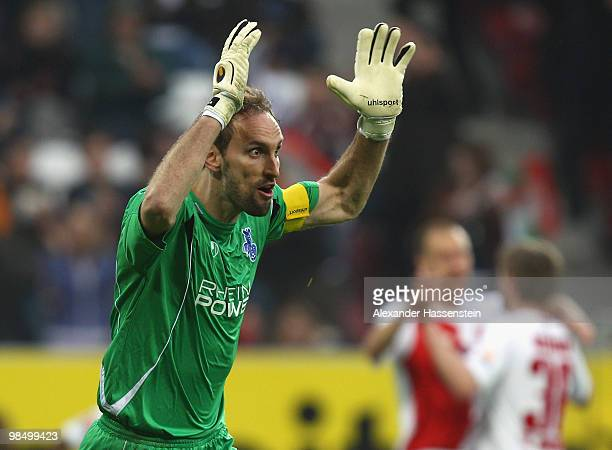 Keeper Tom Starke of Duisburg reacts after receiving the second goal during the Second Bundesliga match between FC Augsburg and MSV Duisburg at...