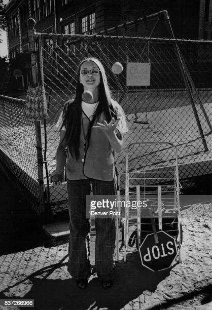 SEP 22 1977 keeping busy Ardie Anderson a crossing guard at Dora Moore Elementary School on Capitol Hill juggles three balls during a slack moment...
