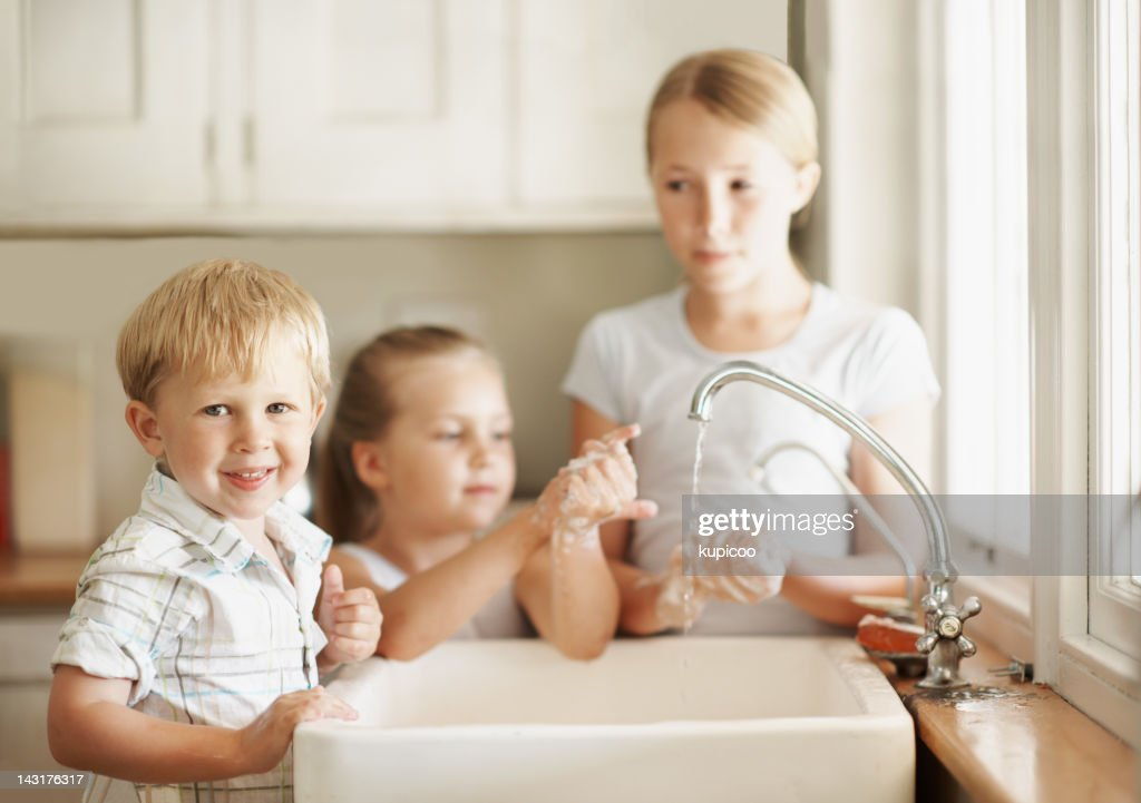 Keeping clean with a smile : Stock Photo