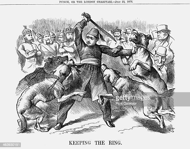 'Keeping the Ring' 1876 Turkey brandishing a sword is beset on all sides by the dogs of war Servia Montenegro Herzegovina and Bosnia In the...
