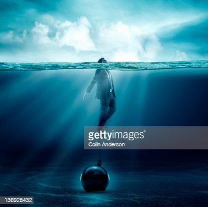 keeping your head above water : Stock Photo
