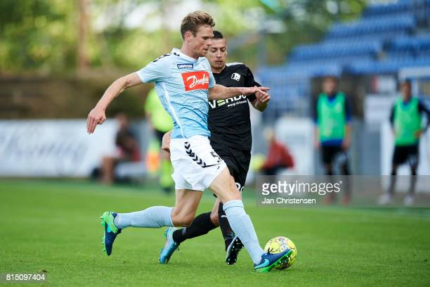 Kees Luijckx of SonderjyskE compete for the ball during the Danish Alka Superliga match between SonderjyskE and Randers FC at Sydbank Park on July 15...