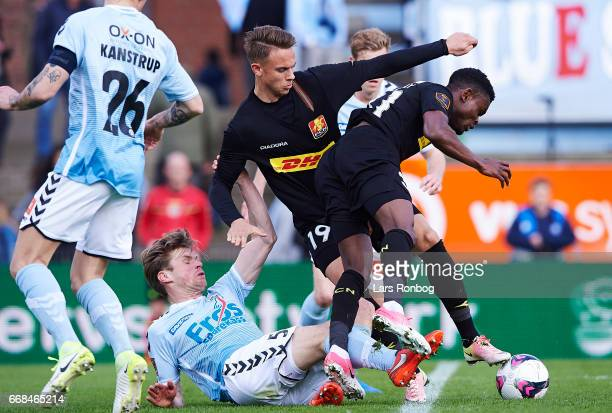 Kees Luijckx of Sonderjyske Marcus Ingvartsen of FC Nordsjalland and Godsway Donyoh of FC Nordsjalland compete for the ball during the Danish Alka...