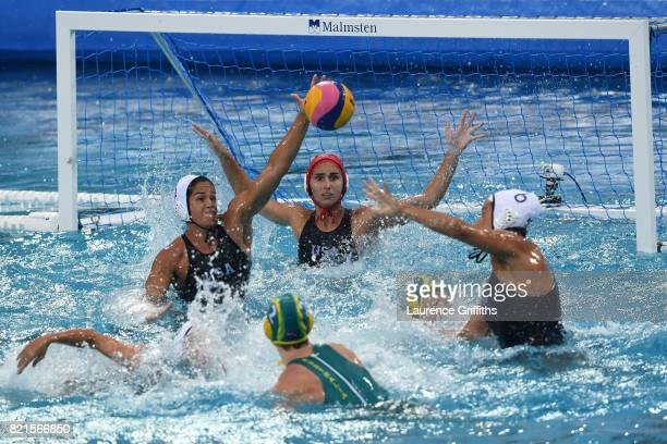Keesja Gofers of Australia scores during the Women's Water Polo Quarterfinal against The United States on day eleven of the Budapest 2017 FINA World...