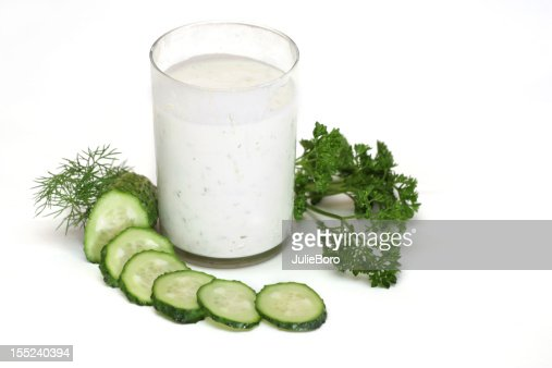 kefir with cucumber : Stock Photo