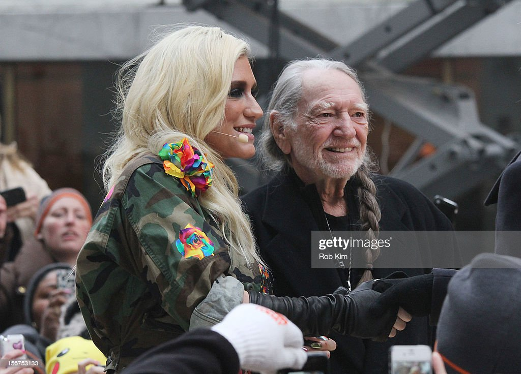Ke$ha (L) and Willie Nelson appear on NBC's 'Today' at Rockefeller Plaza on November 20, 2012 in New York City.