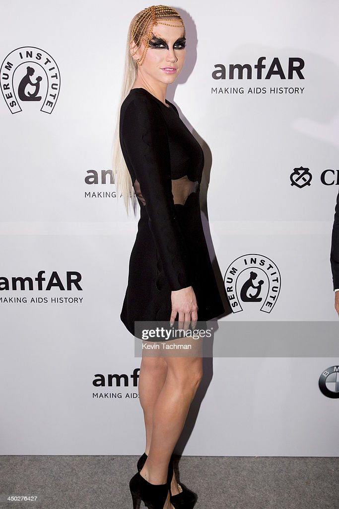 <a gi-track='captionPersonalityLinkClicked' href=/galleries/search?phrase=Ke%24ha&family=editorial&specificpeople=6718222 ng-click='$event.stopPropagation()'>Ke$ha</a> attends the inaugural amfAR India event at the Taj Mahal Palace Mumbai on November 17, 2013 in Mumbai, India.