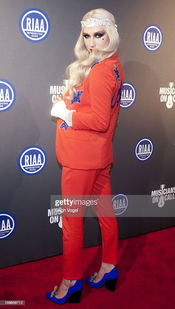 <a gi-track='captionPersonalityLinkClicked' href=/galleries/search?phrase=Ke%24ha&family=editorial&specificpeople=6718222 ng-click='$event.stopPropagation()'>Ke$ha</a> attends the RIAA Presidential Inaugural Charity Benefit at the 9:30 Club on January 21, 2013 in Washington, United States.