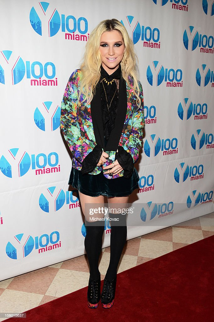 Ke$ha attends the Y100's Jingle Ball 2012 at the BB&T Center on December 8, 2012 in Miami.