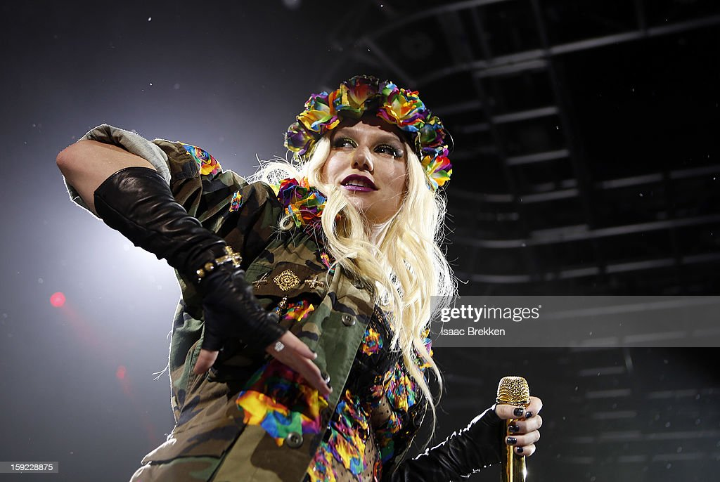 <a gi-track='captionPersonalityLinkClicked' href=/galleries/search?phrase=Ke%24ha&family=editorial&specificpeople=6718222 ng-click='$event.stopPropagation()'>Ke$ha</a> performs at the iHeartRadio CES exclusive party at Haze Nightclub at the Aria Resort & Casino at CityCenter on January 9, 2013 in Las Vegas, Nevada.