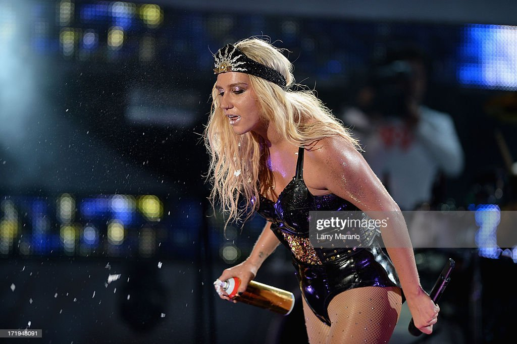 Ke$ha performs live at the iHeartRadio Ultimate Pool Party Presented by VISIT FLORIDA at Fontainebleau's BleauLive in Miami on June 29, 2013 in Miami Beach, Florida.