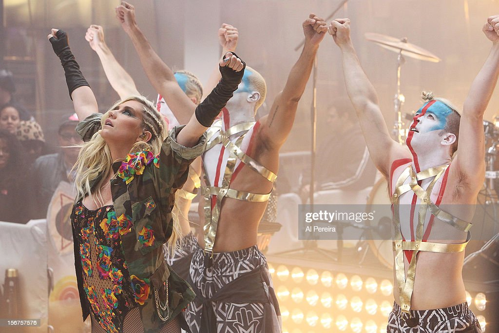 Ke$ha (L) performs on NBC's 'Today' at Rockefeller Plaza on November 20, 2012 in New York City.